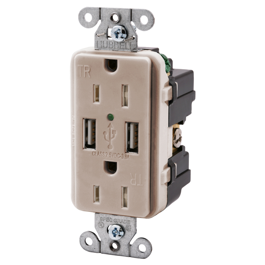 Hubbell Wiring Devices USB15X2LA 15 Amp 125 Volt 2-Pole 3-Wire NEMA 5-15R Light Almond Decorator Duplex USB Charger Receptacle
