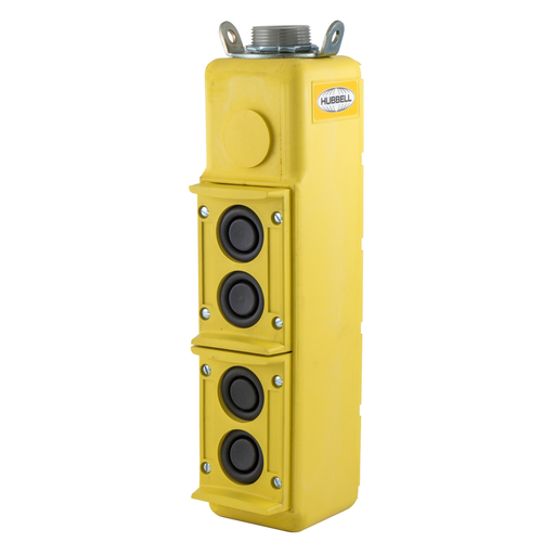 Switches and Lighting Controls, Industrial Grade, Pendant Controls, PushButton Station, 4) Buttons- Single Speed, Pilot Duty, 250V AC Max, Terminal Screws, Yellow