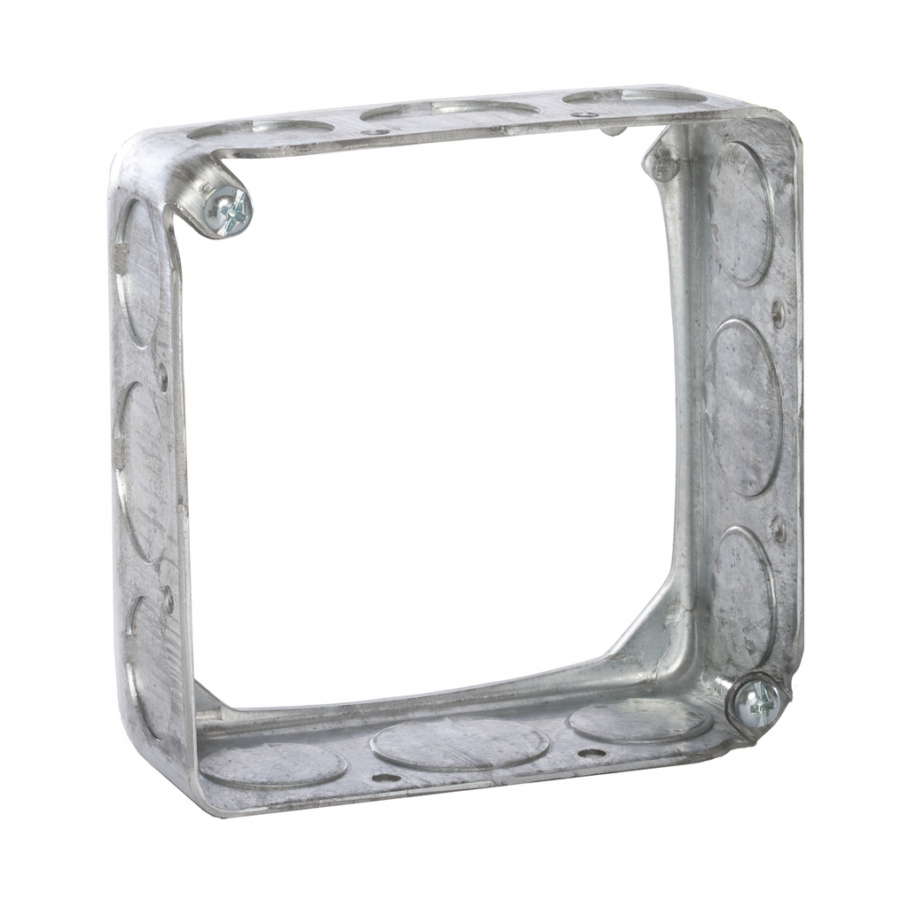4 in. Square Extension Ring, Drawn, 1-1/2 in. Deep, Eight 1/2 in. and Four 3/4 in. KO's
