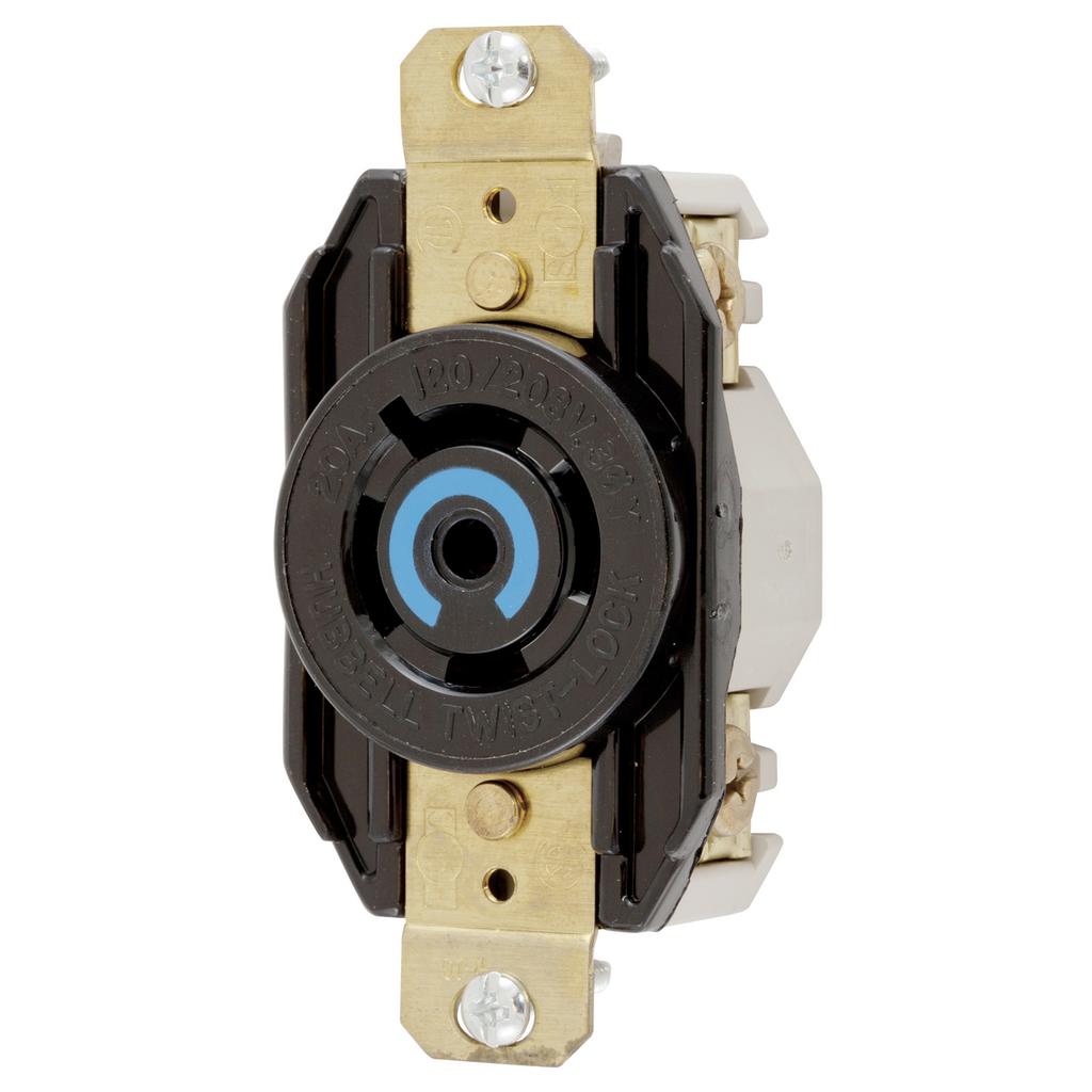 Hubbell HBL2510 20A 3PH 120/208V Twist- Lock Receptacle, L21-20R, Black