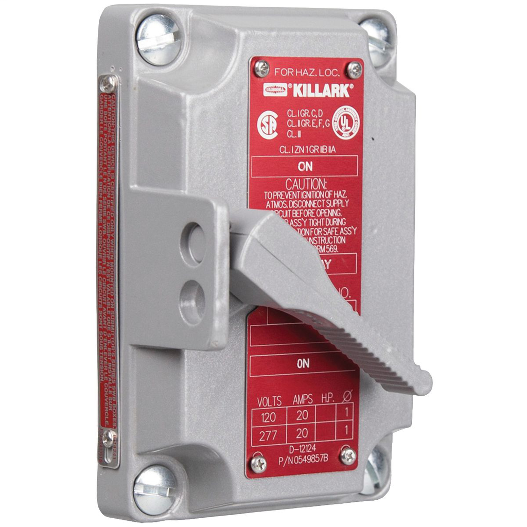 XS SERIES - ALUMINUM 1-POLE TUMBLER SWITCH COVER WITH DEVICE - 20A