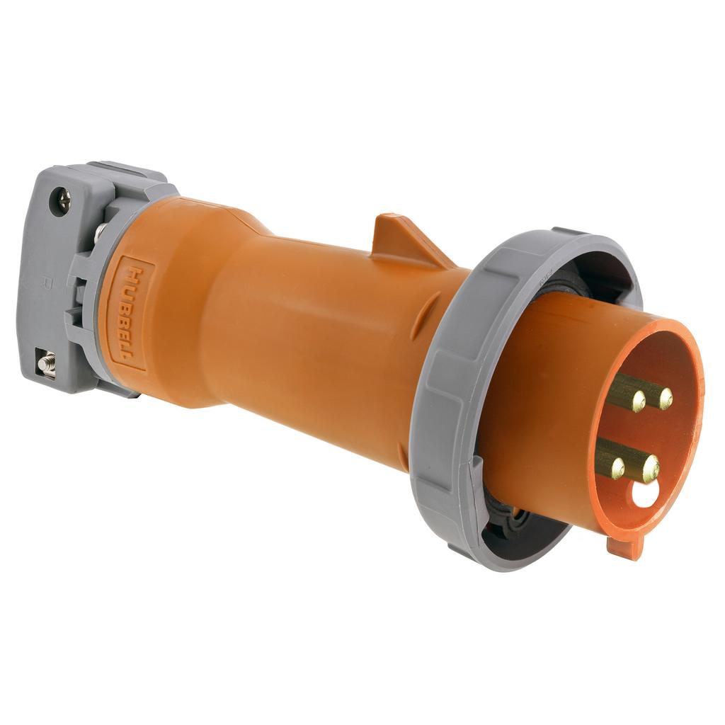 Watertight IEC Pin and Sleeve Plug, 3P4W, 100A 125/250V