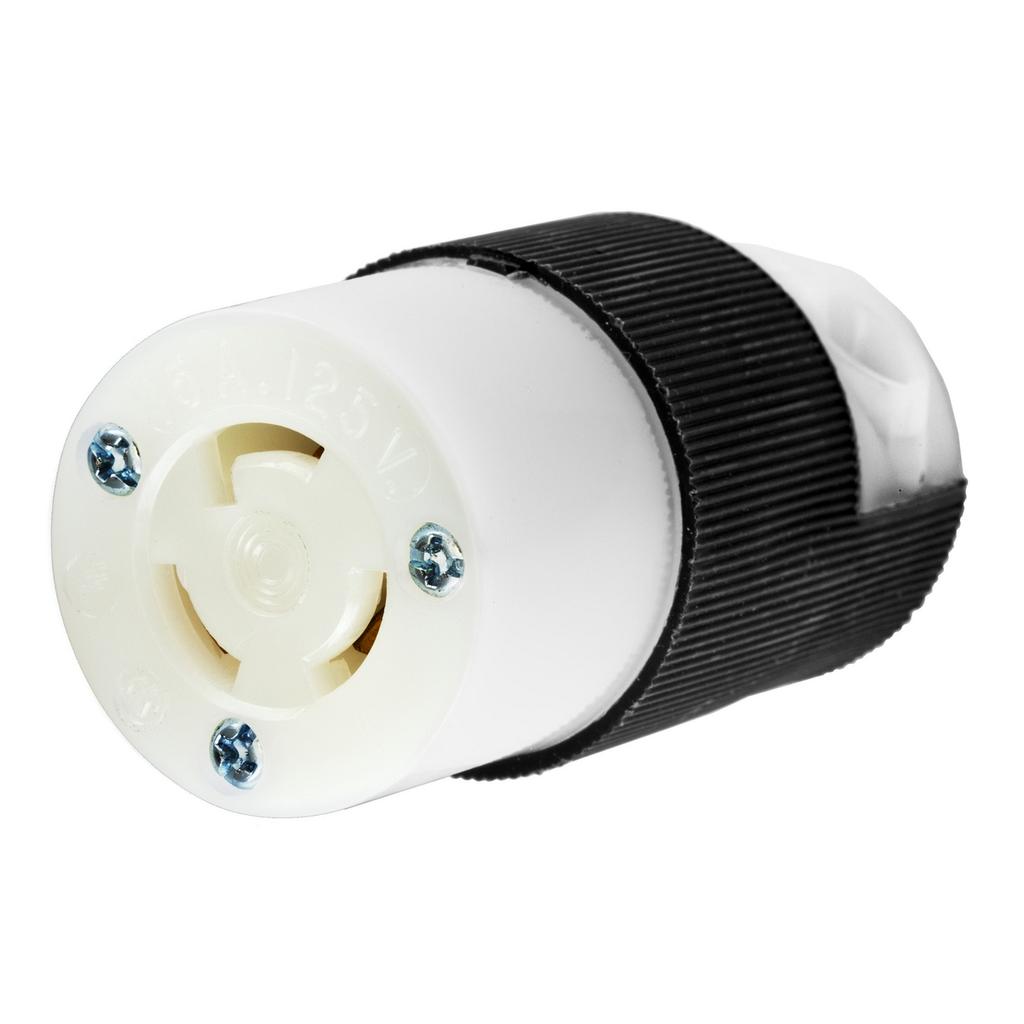 Hubbell HBL4729C 15A 125V Twist-Lock Connector Body, L5-15R, Black/White