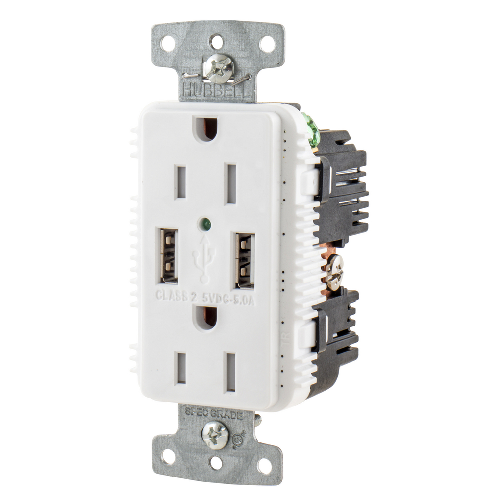 Hubbell Wiring Device Kellems, USB Charger Duplex Receptacle, 15A 125V,2-Pole 3-Wire Grounding, 5-15R, 2) 5A USB Ports, White