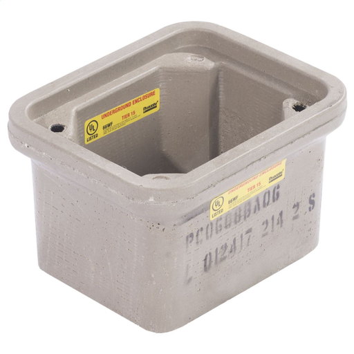 Quazite PC0608BA06 6 x 8 x 6 Inch Straight Wall Open Bottom Polymer Concrete Box, T15 ANSI Tier, Below Ground / UG (No Base) Enclosures