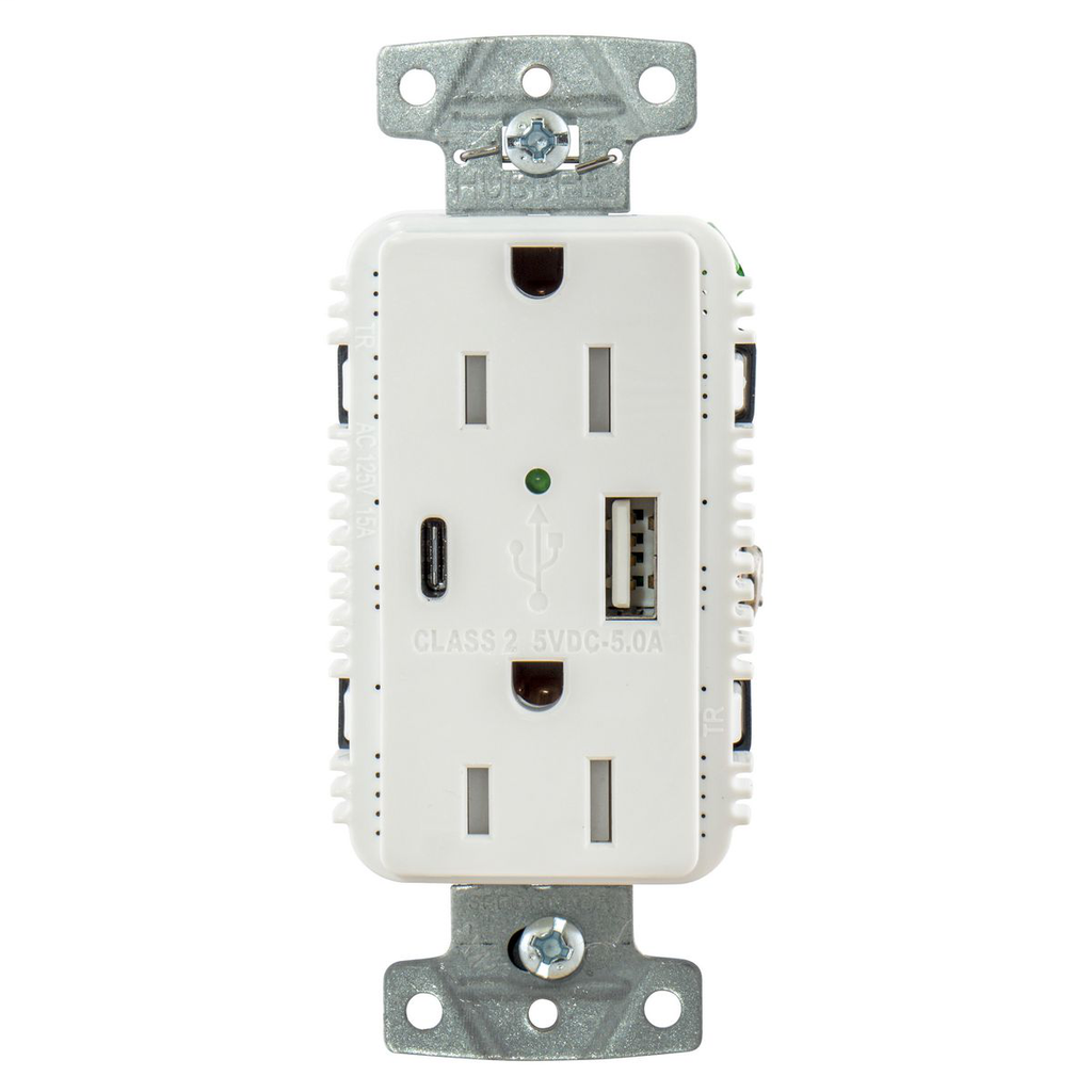"USB Charger Duplex Receptacle, 15A 125V,2-Pole 3-Wire Grounding, 5-15R, 1) 5A ""C"" USB and ""A"" Ports, White"