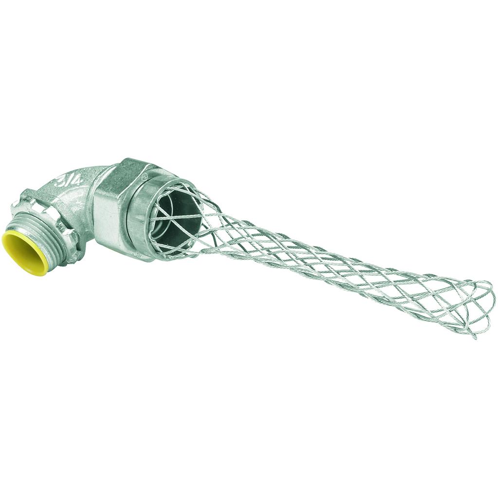 "3/4"" 90° Liquidtight Connector w/Mesh Grip"