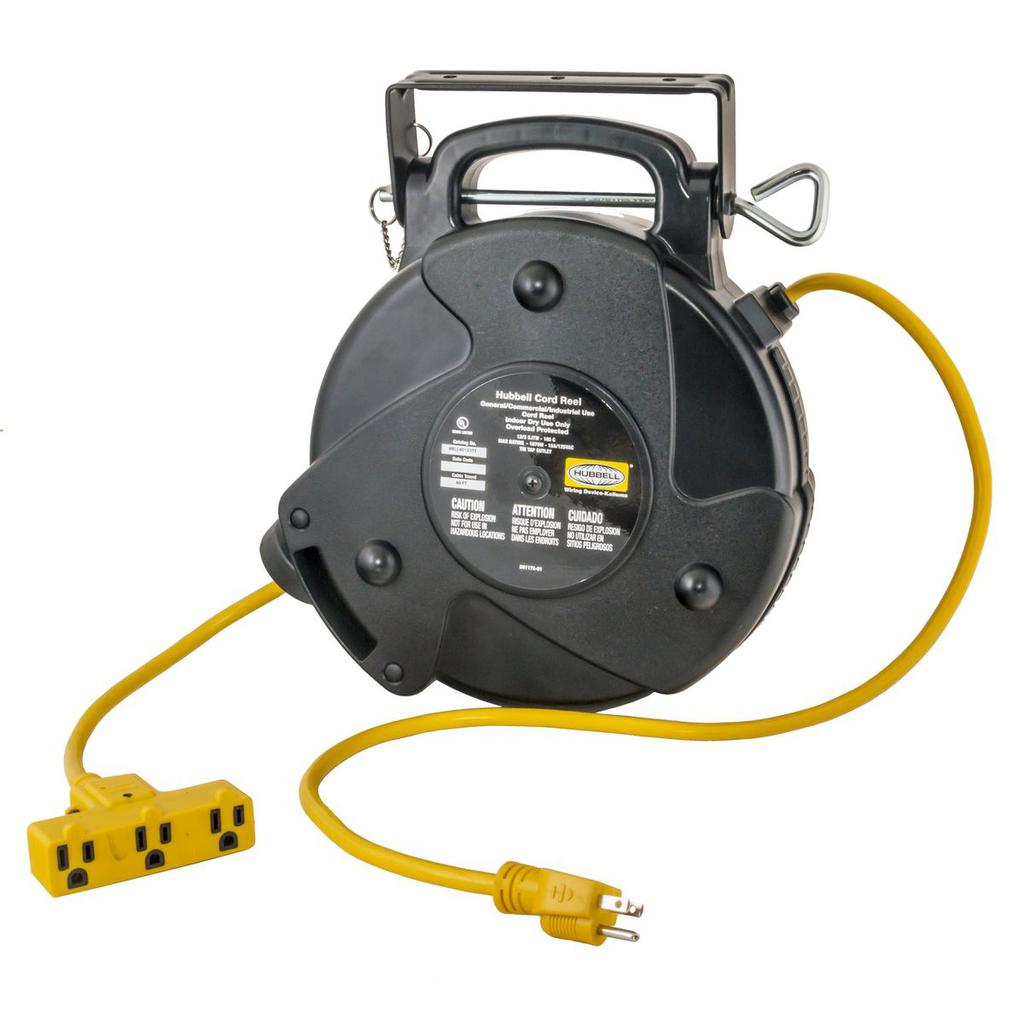 Hubbell Wiring Device-Kellems,HBLC40123TT,CORD REEL, 40' 15A/125V W/TRIPLE TAP