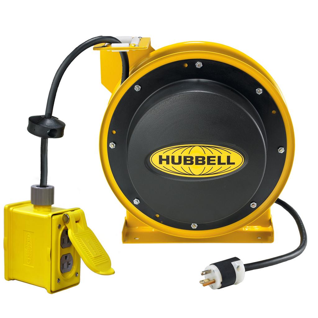 Hubbell Wiring Device-Kellems,HBL45123R220,CORD REEL W/(2)  DUPLEX, 45' 12/3