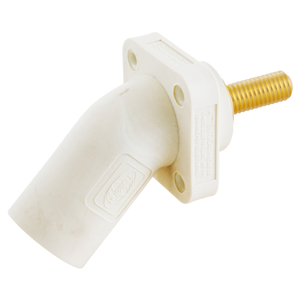 Hubbell Wiring Device Kellems, Single Pole Products, 300/400A Series,Inlet, Angled, Threaded Stud, White