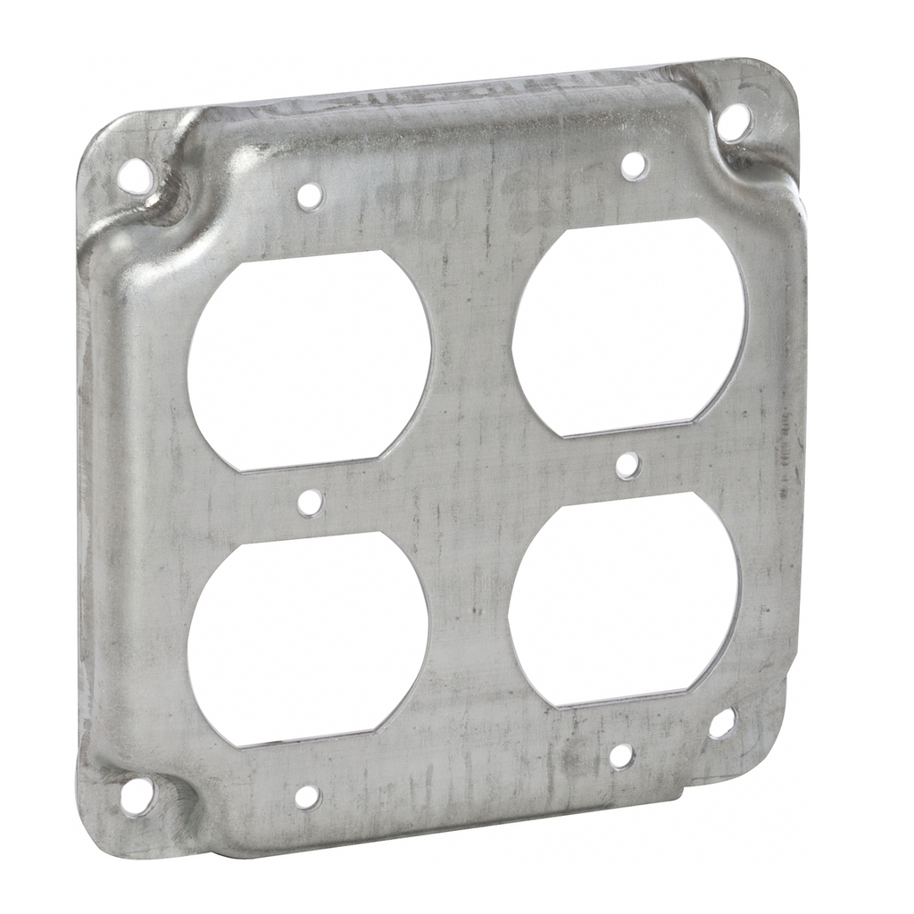 4 in. Square Exposed Work Covers - Raised 1/2 in. 2 Duplex Receptacles