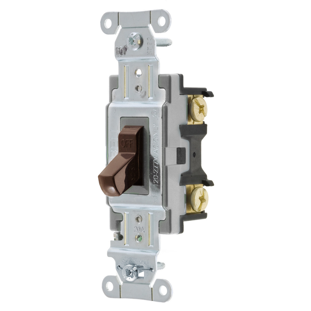 Hubbell Wiring Device-Kellems,CS120,SWITCH, COM, SP, 20A 120/277V, BR