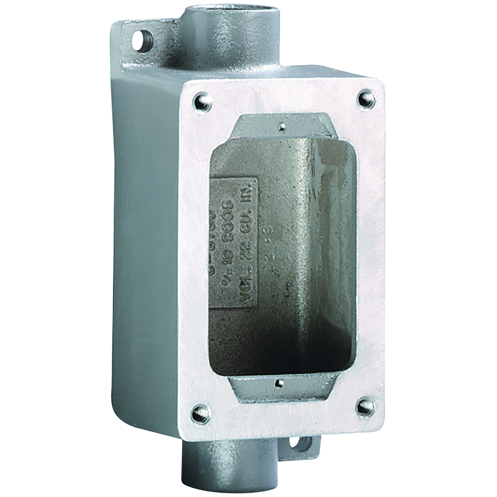 SWB Series - Aluminum Feed-Thru Single-Gang Device Body For Use With XCS/XS/XT Cover Assemblies - Hub Size 3/4 Inch - 5-7/8 Inch X 3 Inch X 2-1/4 Inch