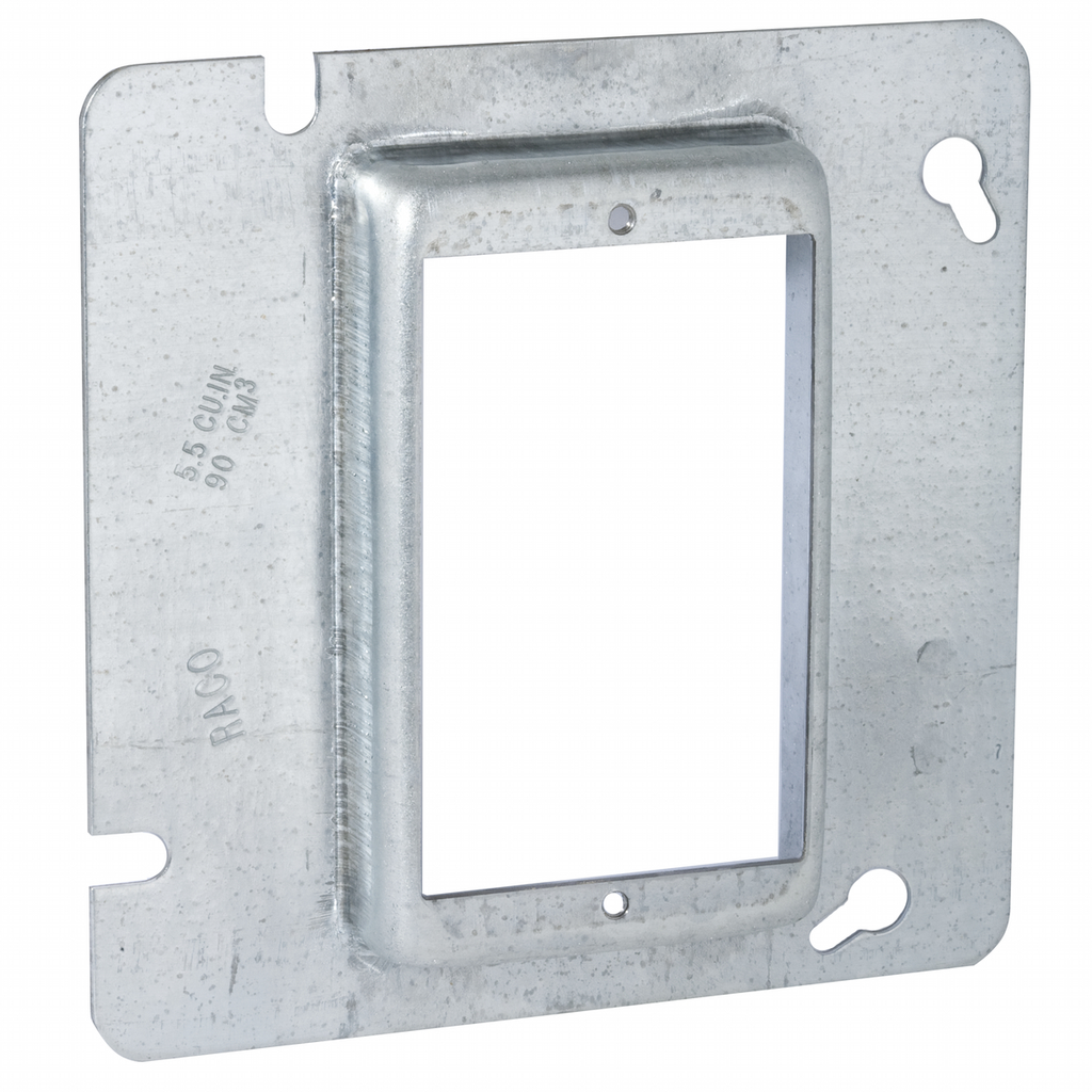 Raco 838 4-11/16 Inch 3/4 Inch Raised 5 In Steel 1-Device Square Box Cover