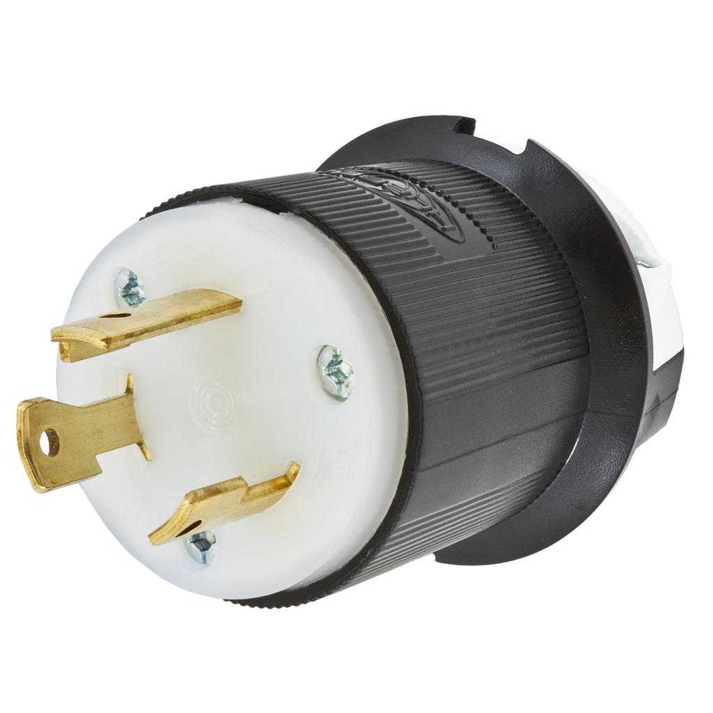 Hubbell HBL2611 30A 125V Twist-Lock Plug, L5-30P, Black/White