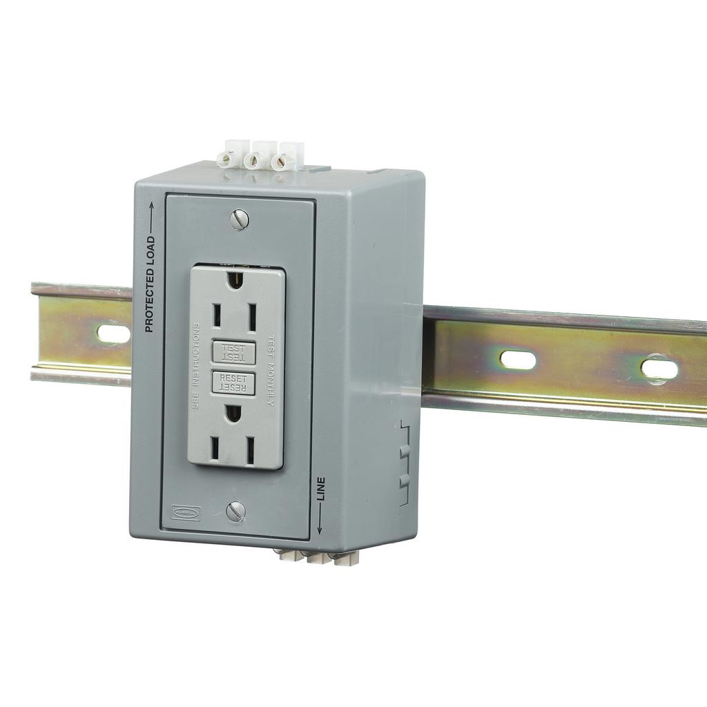 Hubbell Wiring Device-Kellems,DRUBGFI15AC,DIN-R UTL BOX,15A 125V,DUP,GFCI,W/AC,GY