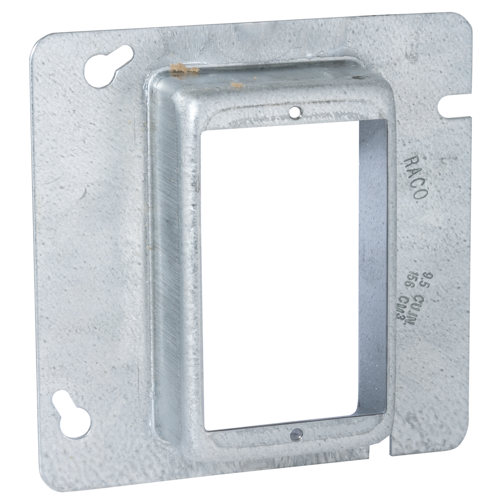 Raco 842 4-11/16 Inch 1-1/4 Inch Raised 8.5 In Steel 1-Device Square Box Cover