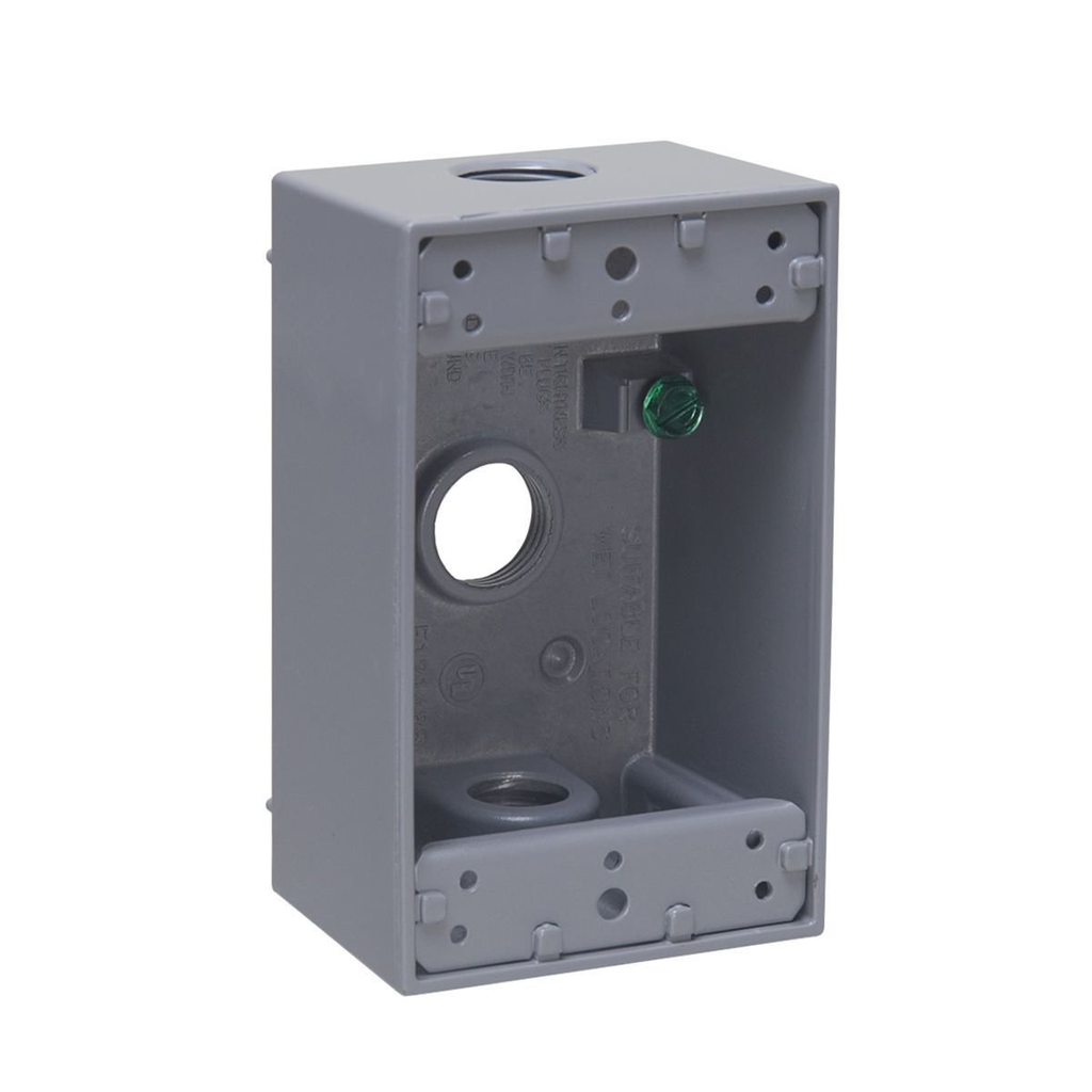 "RACO 5320-0 (WB101) Single Gang Weatherproof Box, (3) 1/2"" Outlets ***"