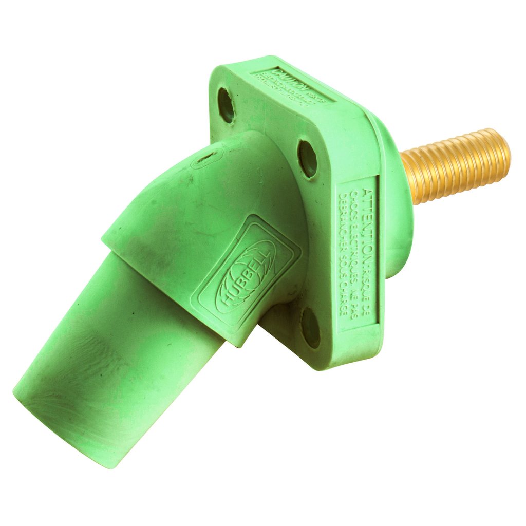 Hubbell Wiring Device Kellems, Single Pole Products, 300/400A Series,Receptacle, Angled, Threaded Stud, Green