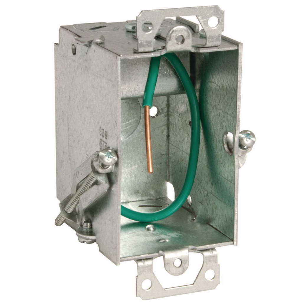 RACO 523S 2 x 3 x 2-1/2 Inch 12.5 In Pre-Galvanized Steel Plaster Ear Mount Gangable Switch Box with Pigtail