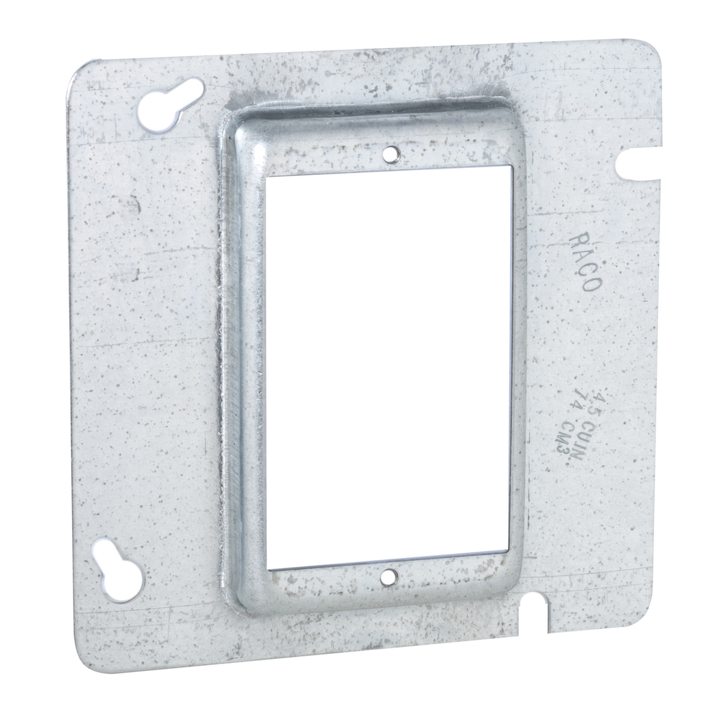 Raco 843 4-11/16 Inch 5/8 Inch Raised 4.9 In Steel 1-Device Square Box Cover
