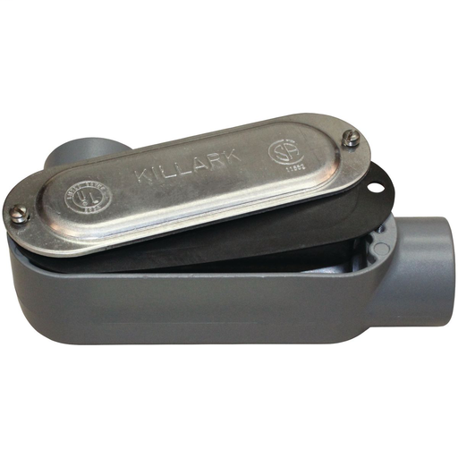 O SERIES/DURALOY 5 SERIES - ALUMINUM CONDUIT BODY WITH COVER AND GASKET- LL TYPE - HUB SIZE 1/2 INCH - VOLUME 4.0 CUBIC INCHES