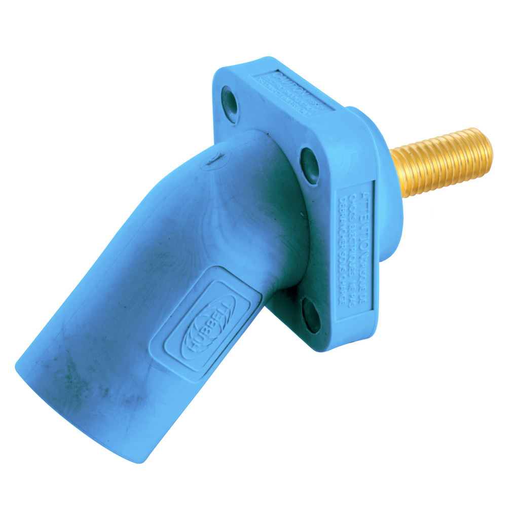 Hubbell Wiring Device Kellems, Single Pole Products, 300/400A Series,Inlet, Angled, Threaded Stud, Blue