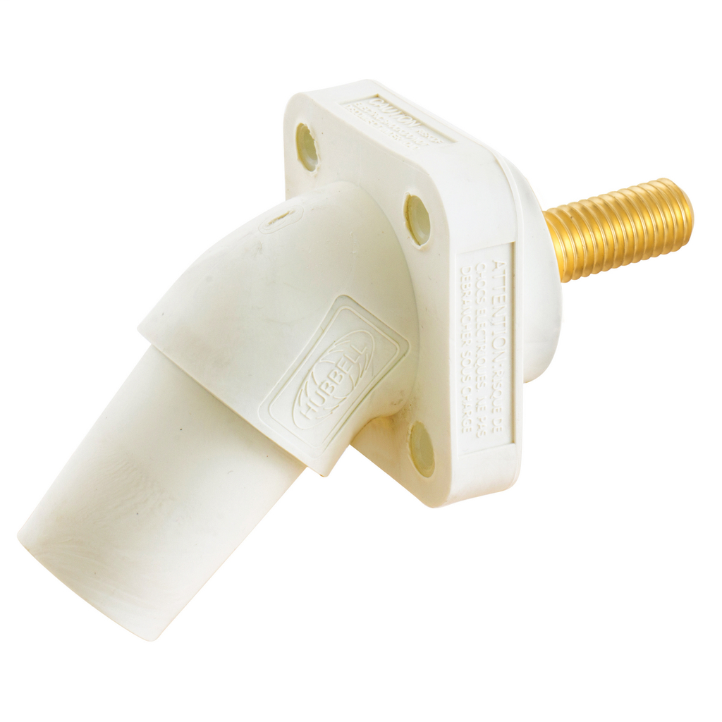 Hubbell Wiring Device Kellems, Single Pole Products, 300/400A Series,Receptacle, Angled, Threaded Stud, White