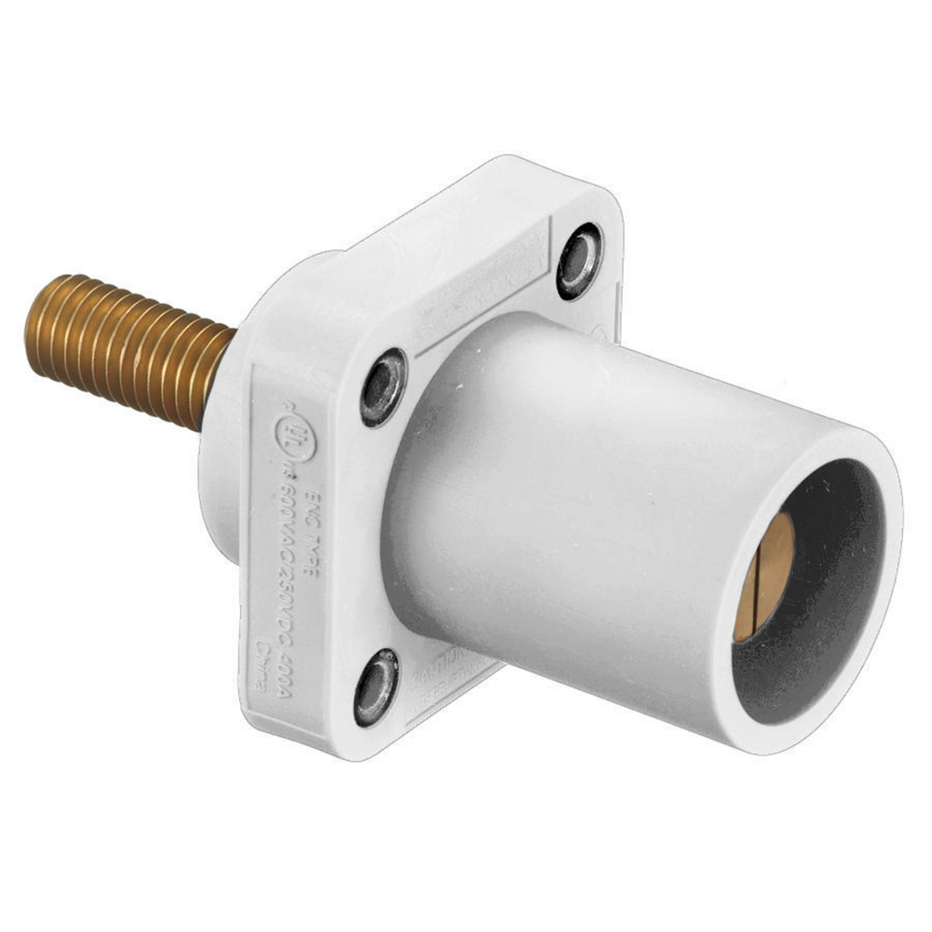 HUB HBLMRSCW SINGLEPOLE, 300/400A MALE STUD RECEP, WH