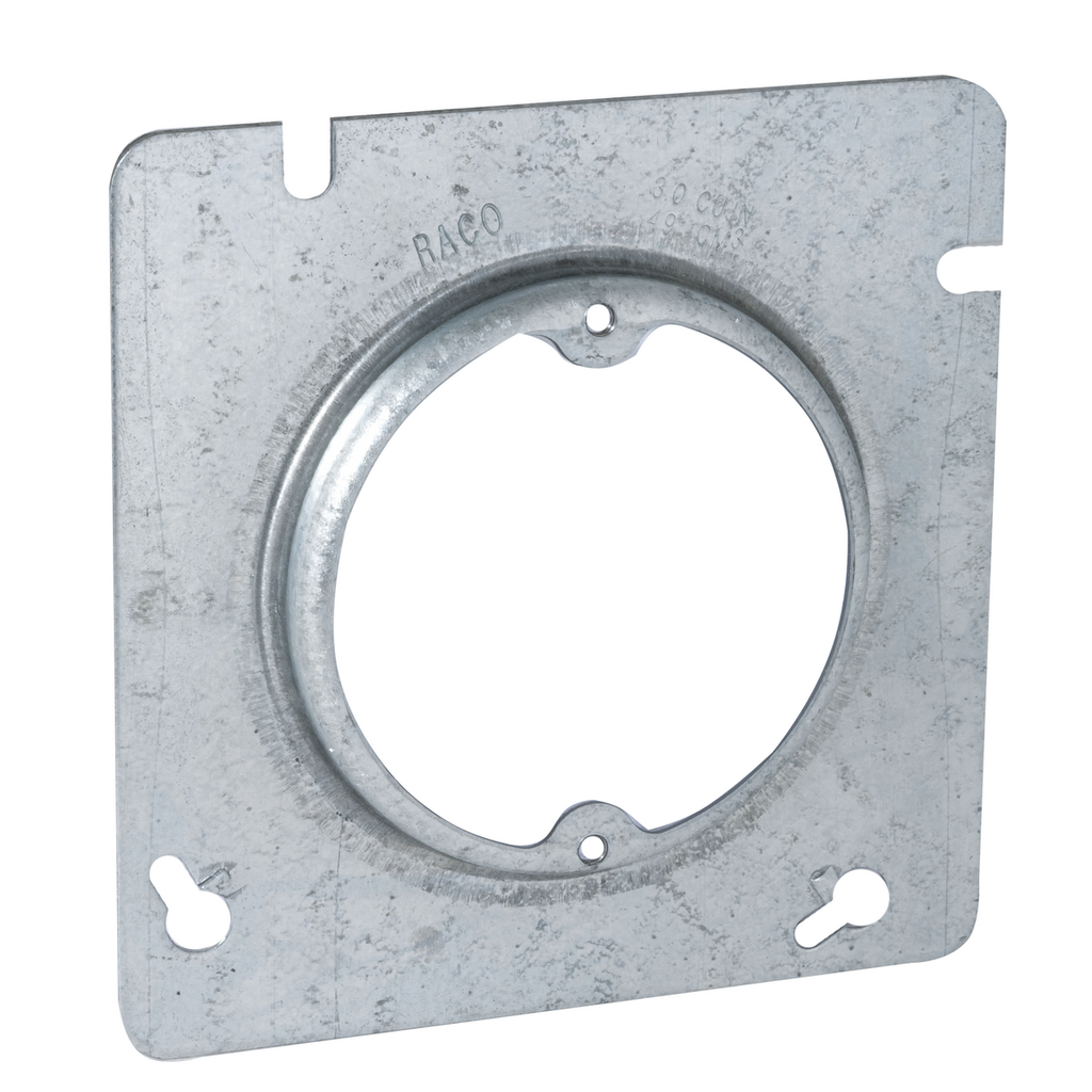 Raco 829 4-11/16 Inch 1/2 Inch Raised 3.3 In Steel Square Box Cover with Open Ear