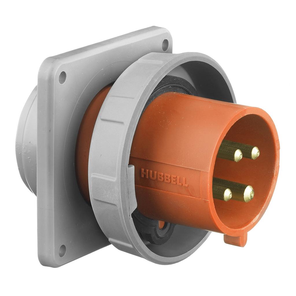 HUB HBL430B12W PS, IEC, INLET, 3P4W, 30A 125/250V, W/T