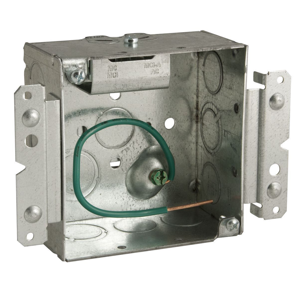 RACO 232MS 4 x 4 x 2-1/8 Inch 30.3 In Pre-Galvanized Steel M Bracket/Ceiling/Wall Mount Welded Square Box