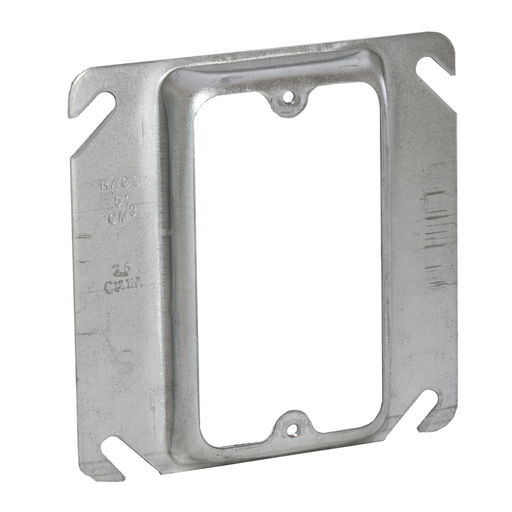 "Raco 772 1/2"" Raised 3.8"" Steel 1-Device Square Outlet Box Mud Ring"