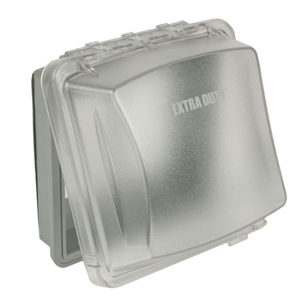 "Raco MM2420C 2.75"" Clear Polycarbonate Vertical Mount 2-Gang Weatherproof Box While-In-Use Device Box Cover"