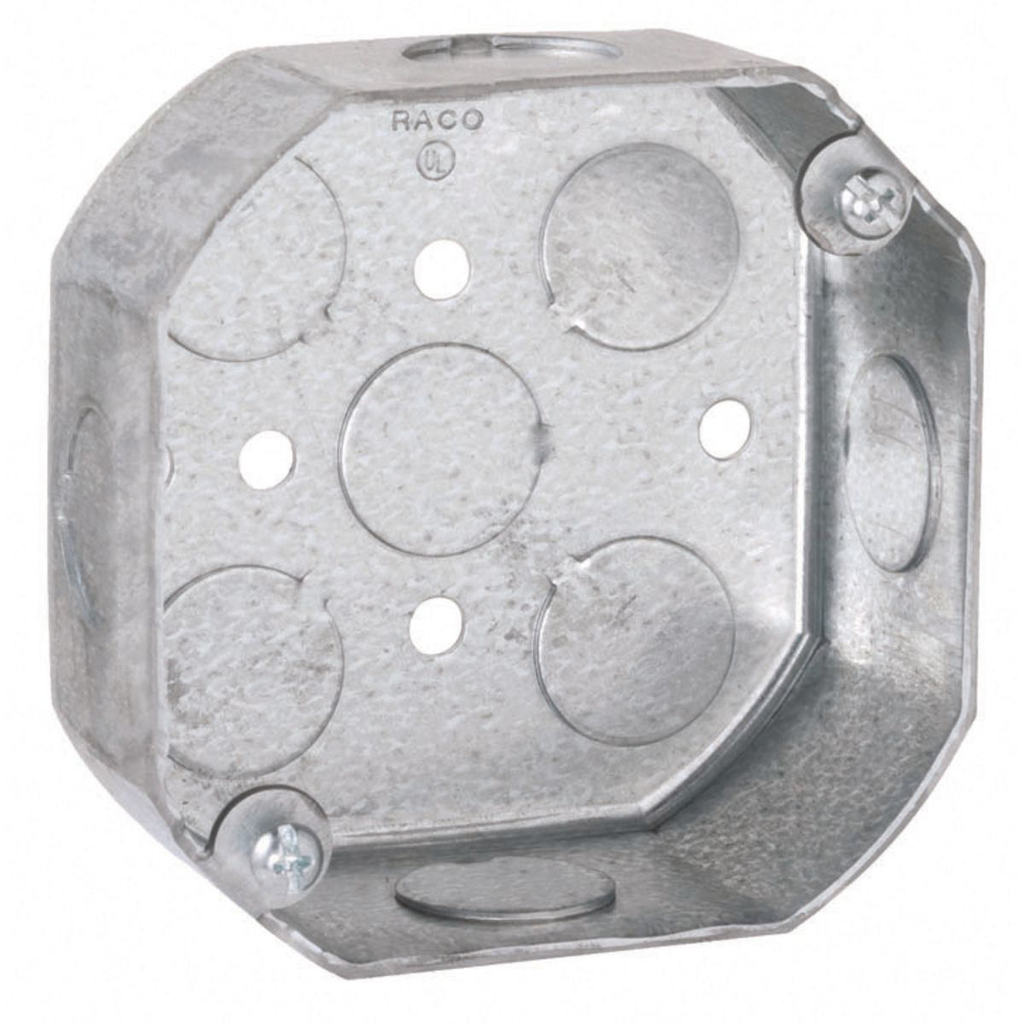 """Raco 125 4 x 1-1/2"""" 15.5"""" Steel Octagon Outlet Box"""