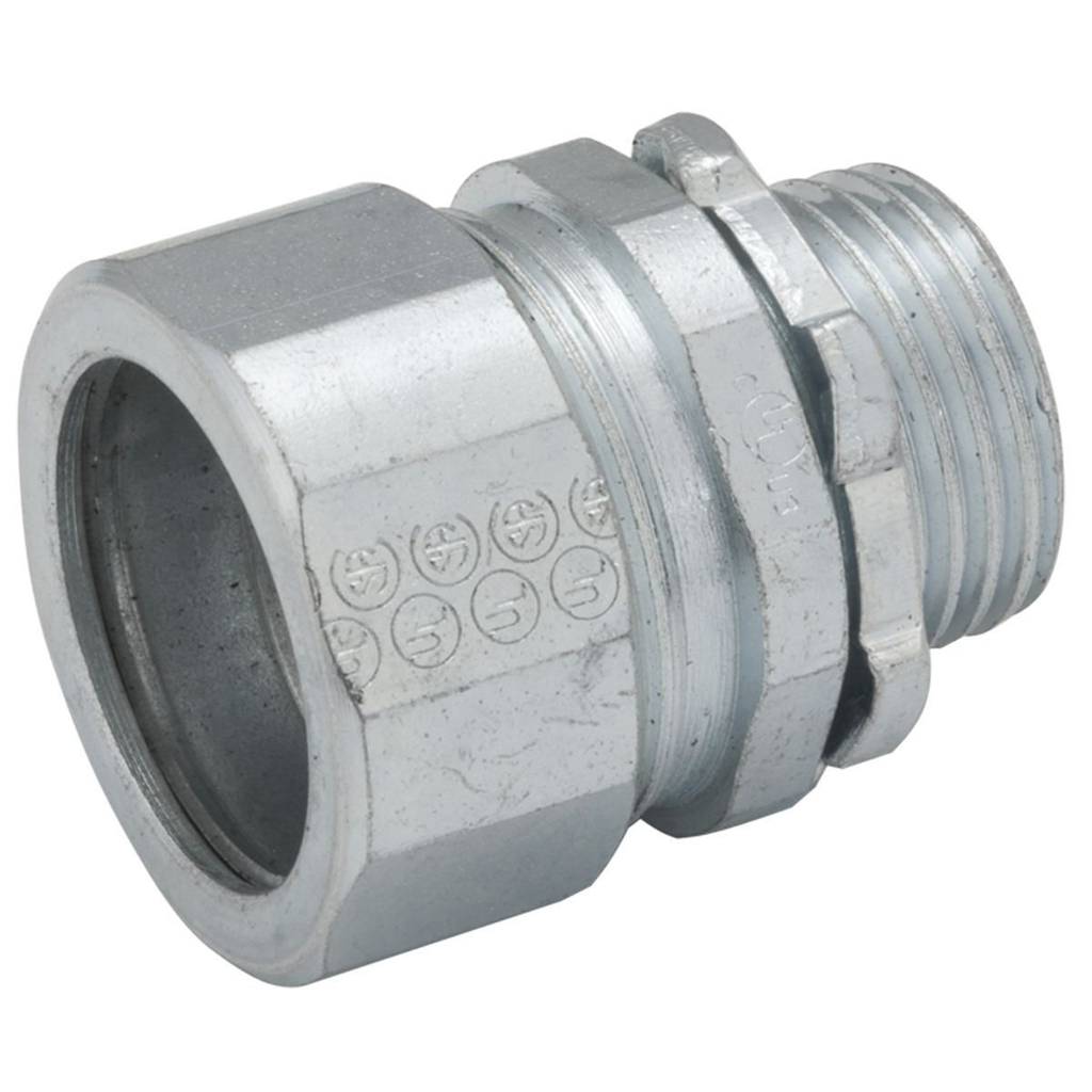 RACO 1808 2 Inch Zinc Electroplated Steel/Malleable Iron Non-Insulated Throat Compression Rigid/IMC Connector