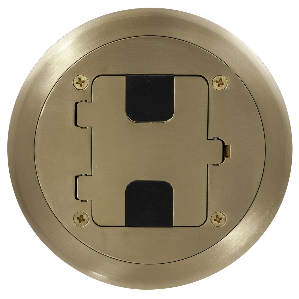 Hubbell Wiring Devices RF406BP NEMA 5-15R Brushed Brass Plated Thermoplastic Flange and Hinged Door Cover Assembly