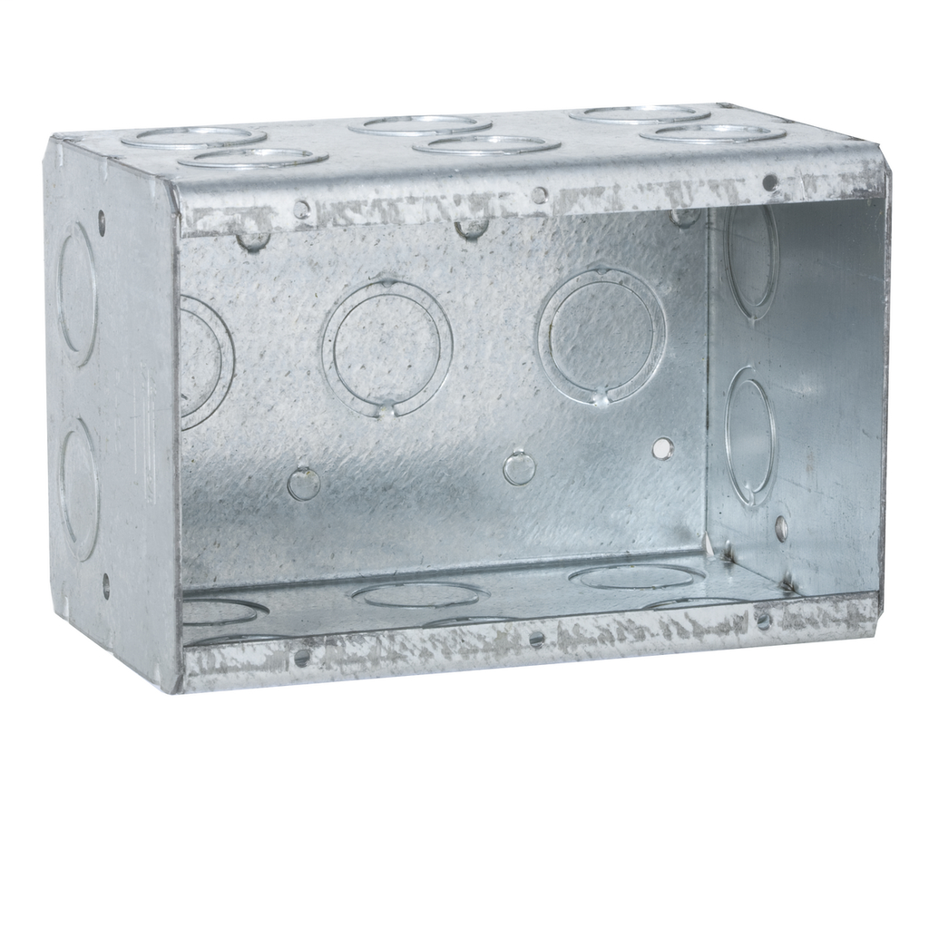 Raco 697 5-9/16 x 3-1/2 x 3-3/4 Inch 66.5 In Steel 3-Gang Masonry Box
