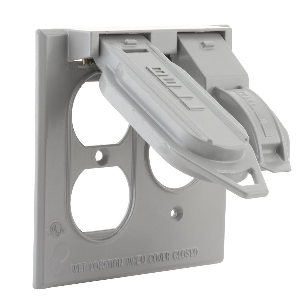 Bell 5160-0 2-Gang Gray Powder Coated Metallic Horizontal Device Mount Flip Single/Duplex Receptacle Weatherproof Box Cover