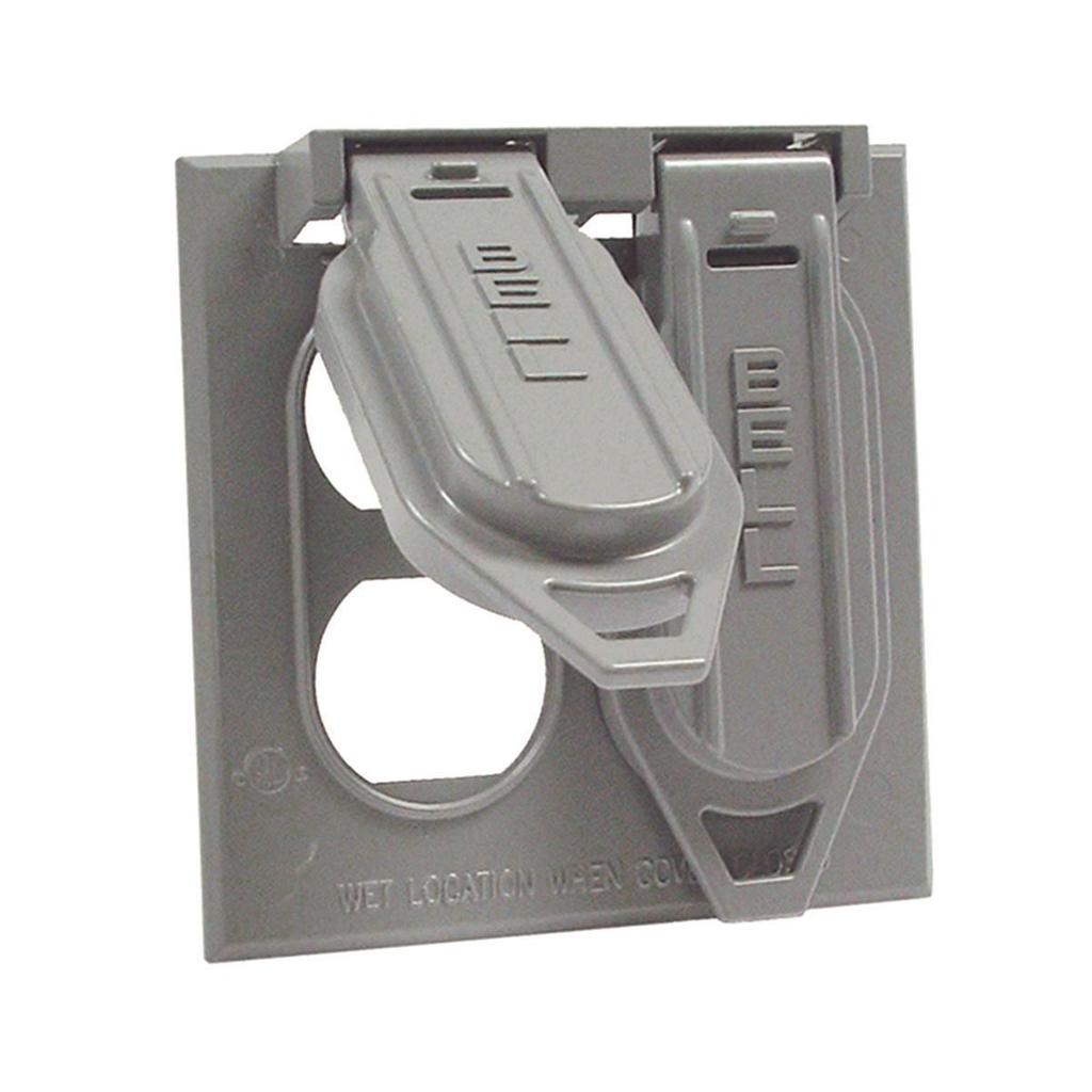 Raco 5148-0 2-Gang 10/Box Gray Weatherproof Duplex Receptacle Cover