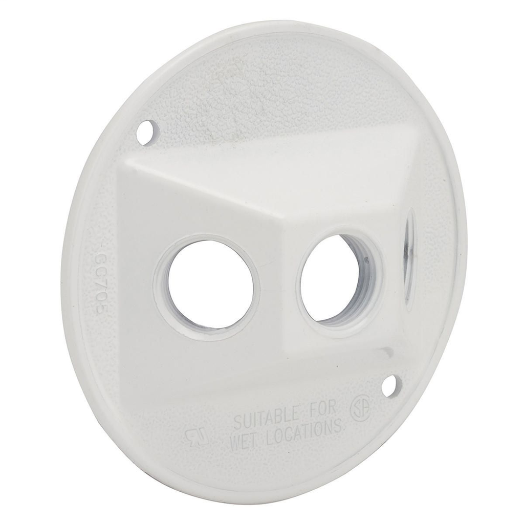 Bell 5197-1 4 Inch 1-Gang (3) 3-1/2 Inch Outlet White Powder Coated Die-Cast Zinc Round Weatherproof Lampholder Cover