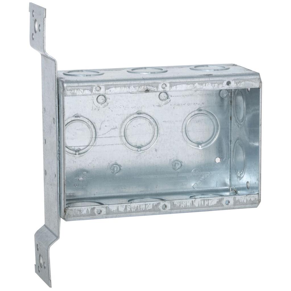 RACO 686 7-5/8 x 5-31/32 x 2-1/2 Inch 47.8 In Pre-Galvanized Steel FM Bracket Mount Multi-Device Welded Switch Box