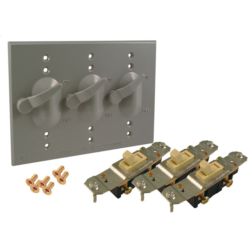 Bell 5126-0 3-Gang Gray Powder Coated Metallic Horizontal Device Mount Weatherproof Box Cover with 1-Pole Toggle Switch