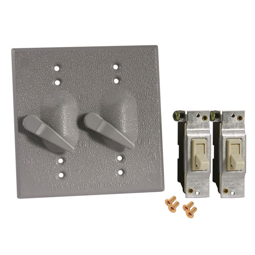 Bell 5124-0 2-Gang Gray Powder Coated Metallic Horizontal Device Mount Weatherproof Box Cover with 1-Pole Toggle Switch
