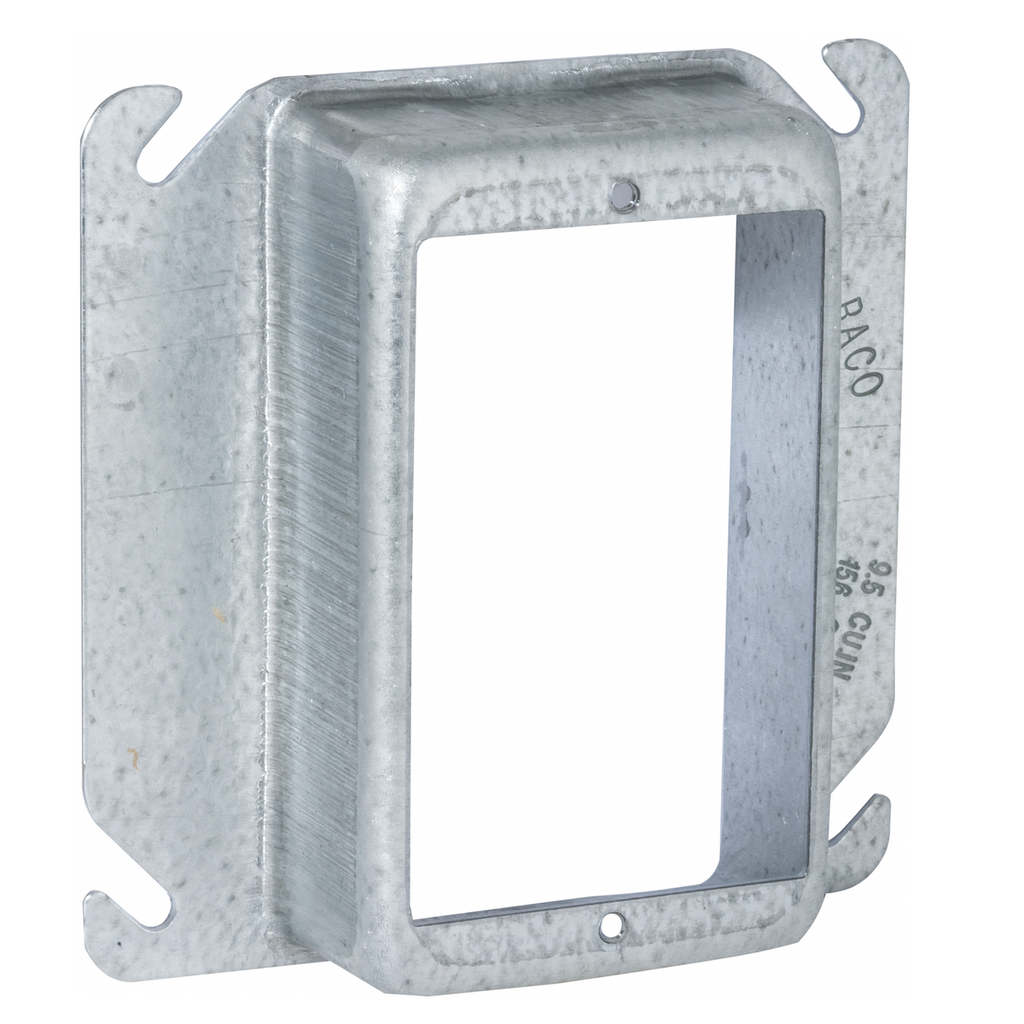 Raco 775 1-1/4 Inch Raised 8.5 In Steel 1-Device Square Outlet Box Mud Ring