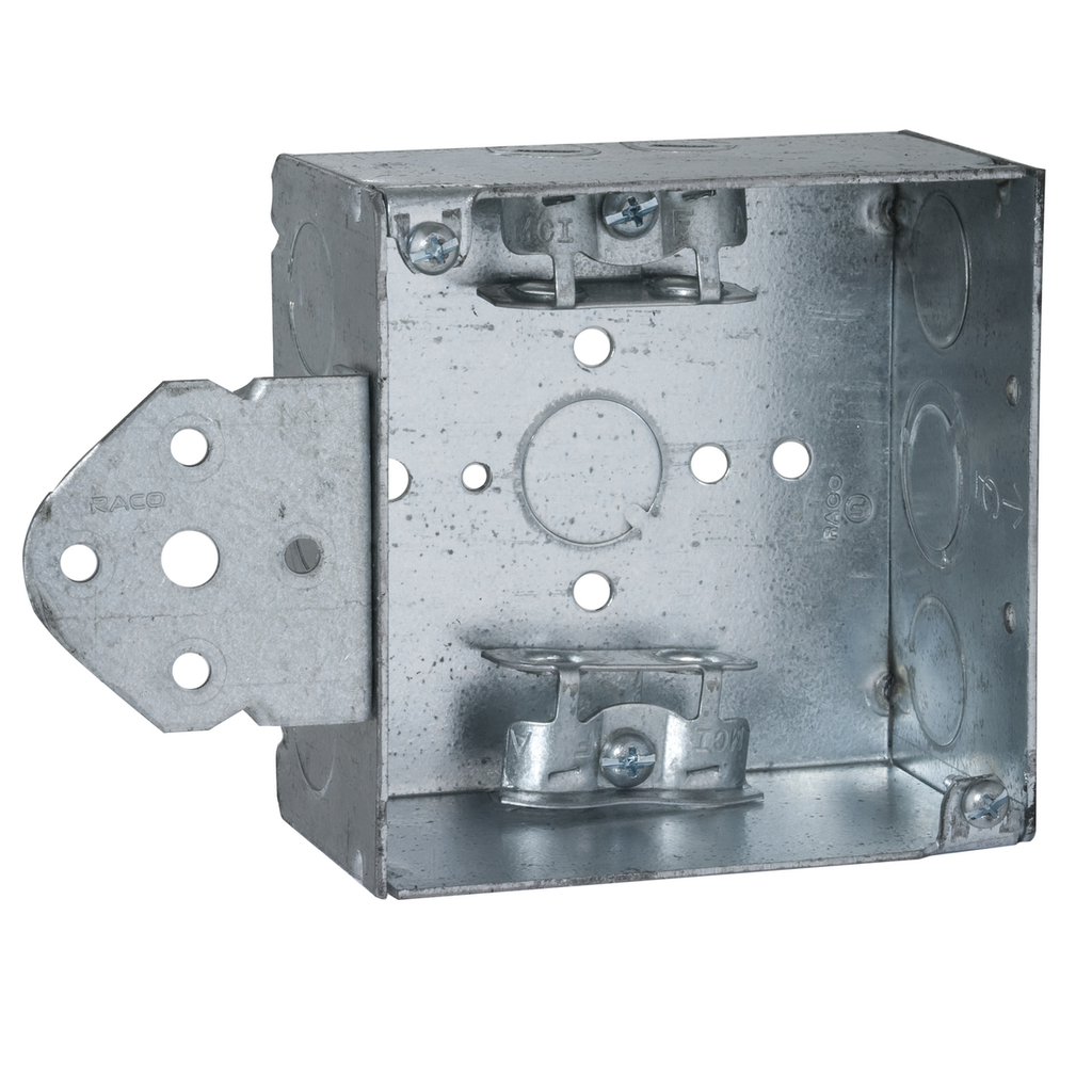 RACO 249 4 x 4 x 2-1/8 Inch 30.3 In Pre-Galvanized Steel B Bracket Flush/Ceiling/Wall Mount Welded Square Box