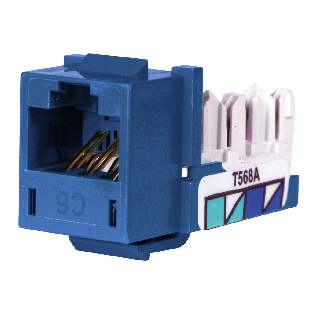 Hubbell Wiring Devices HXJ6B25 8-Position Blue T568A/T568B Category 6 Modular Keystone Jack