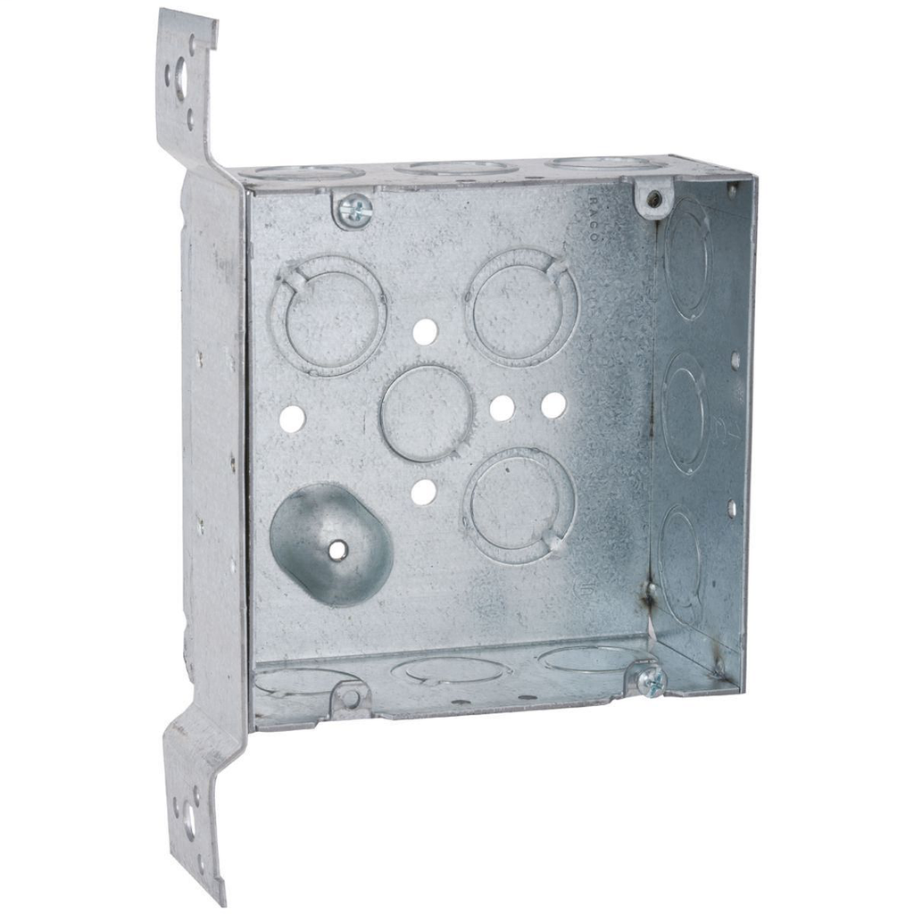 Raco 254 4-11/16 x 4-11/16 x 2-1/8 Inch 42 In Steel Drawn Square Outlet Box
