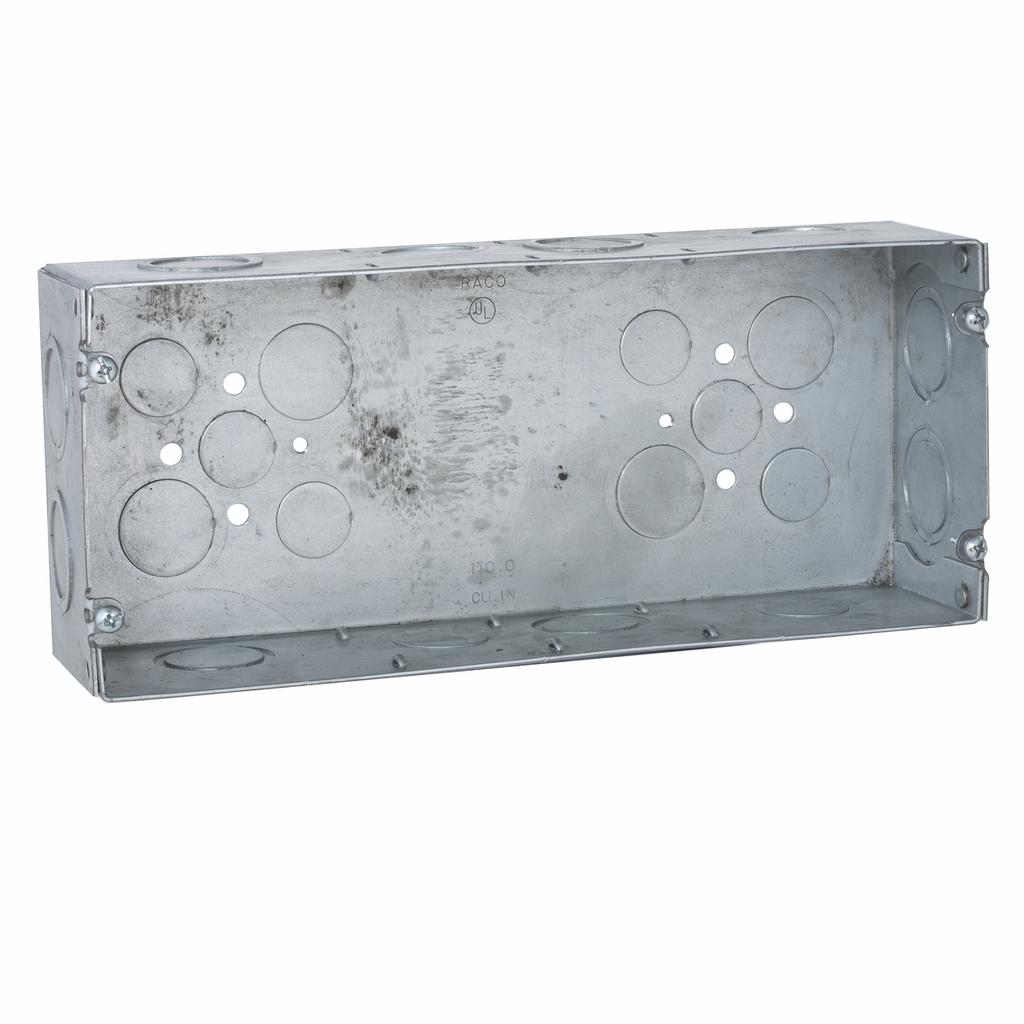 Raco 943 10-7/16 x 2-1/2 x 4-1/2 Inch 110 In Steel 4-Gang Switch Box