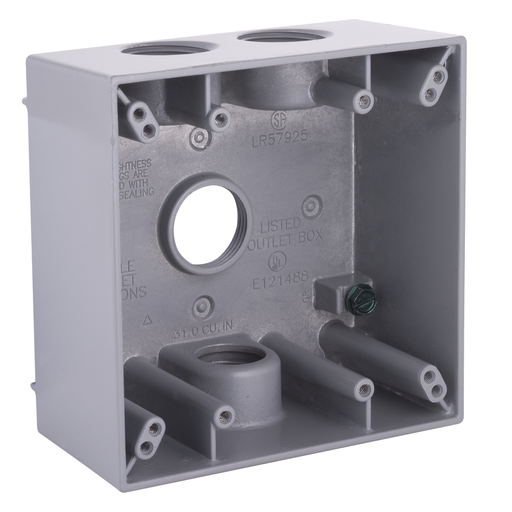 Raco 5343-0 (Bell) 2G WP Box 2 Inch Deep (4) 3/4 Inch Hubs With Lugs Weatherproof Gray Double Gang